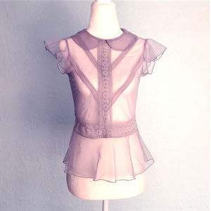 Vintage-inspired Victorian-style blouse, sheer, S